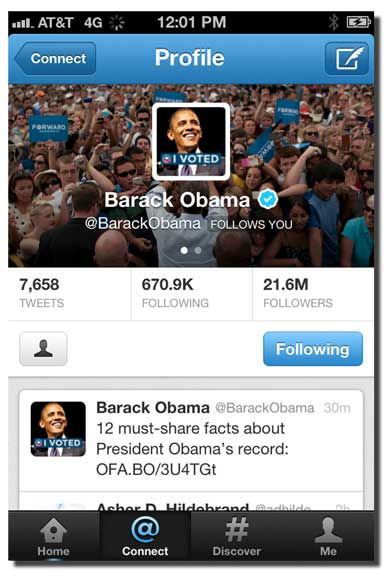 President Obama following Lisa Larter